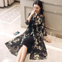 大码女装2018夏季新款韩版胖防晒外套妈妈两件套碎花雪纺连衣裙