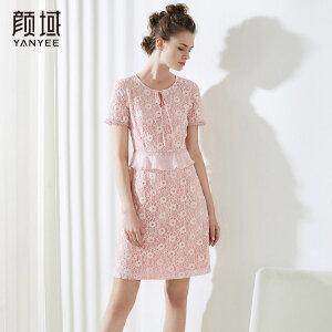 颜域短袖拼接荷叶边收腰连衣裙粉色勾花优雅减龄裙子2018夏季新款