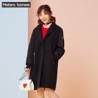 美特斯邦威毛呢大衣女长款冬装新款休闲大衣学生韩版商场款R