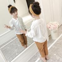 童装女童春装套装新款儿童白色衬衫休闲裤韩版两件套宝宝潮衣