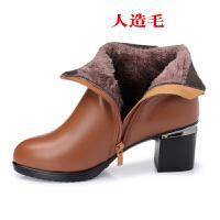 冬季新款中年女士短靴真皮中跟粗跟皮靴羊毛里棉皮鞋大码妈妈女鞋SN0044 黄棕 人造毛