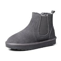 雪地靴女真皮2018冬季新款加绒加厚保暖棉鞋平底防滑防水短筒靴子SN2372