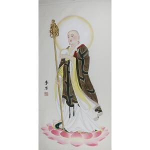 当代实力画家 李岩  【地藏观音 】132*65cm.纸本软片,品如图。