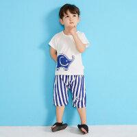 【1件2.5折到手价:47.3】moomoo童装男幼童短袖套装夏季新款小童男宝宝大象撞色短袖套装