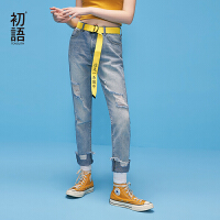 【初语年货节,3折价:104.1】初语2018夏季新款 破洞字母刺绣直筒牛仔裤女
