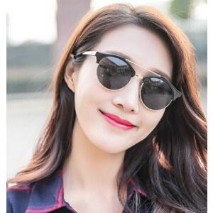 韩版圆框炫彩太阳眼镜男女复古墨镜 时尚百搭眼镜双梁米钉太阳镜