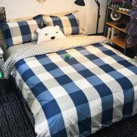 简约格子床上四件套1.8单人床单被子被套三件套被单