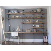 loft书架置物架美式创意实木书桌书架组合家用工业风铁艺书架落地