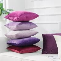 20200111060539966简约紫色天鹅绒面沙发靠垫抱枕靠枕套子不含芯汽车腰枕少女心