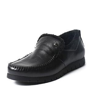 Belle/百丽冬季专柜同款黑色牛皮革男休闲鞋(绒里)4NV01DM6