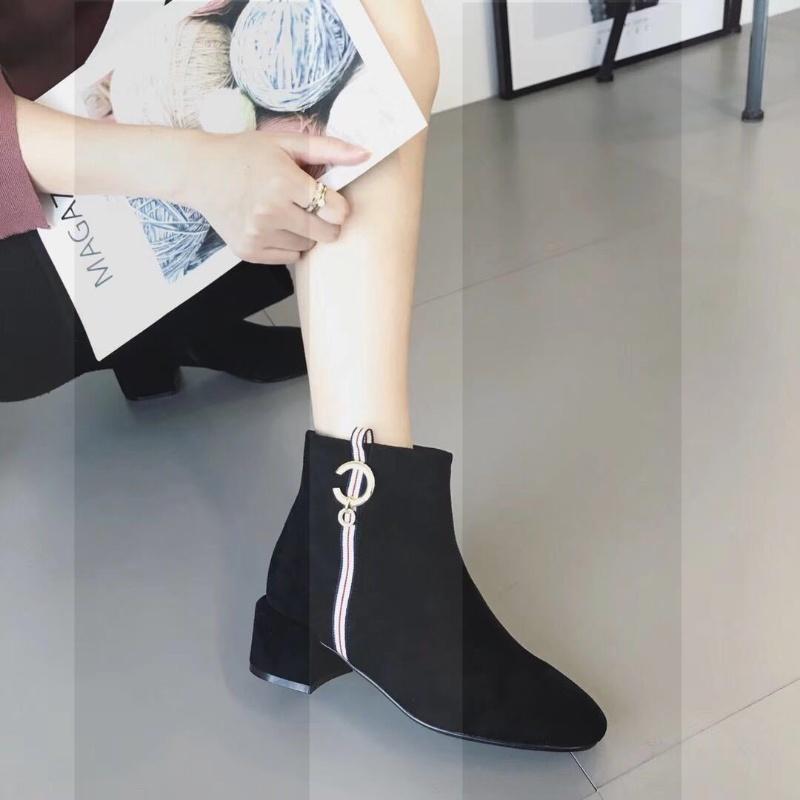 欧洲站磨砂粗跟方头水钻织带加绒女式短靴加绒保暖高跟中筒靴女SN2232 黑色