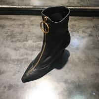 秋季新款靴子女牛皮韩版尖头细跟高跟靴欧美女靴潮
