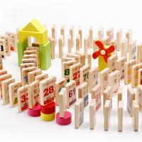 100片双面数字汉字多米诺骨牌 儿童益智玩具宝宝识字认字木质积木 汉字数字积木机关多米诺(桶装)