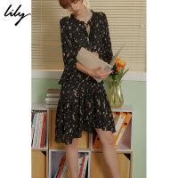 【25折到手价:179.75元】 Lily春新款女装黑色飘逸印花连衣裙118330C7651