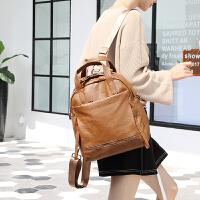 真皮双肩包女韩版潮2018新款时尚百搭牛皮包包大容量休闲软皮背包