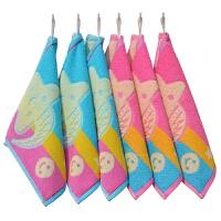 方巾挂式6条装 婴幼儿园儿童小孩子方形毛巾手帕手绢 25x25cm