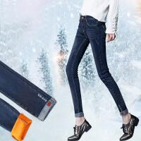 加绒牛仔裤女长裤显瘦秋装新款韩版加绒小脚裤女裤子