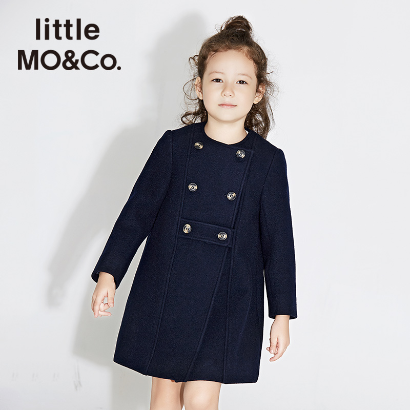 littlemoco双排扣圆领长袖中长款毛呢外套女童KA171OVC102 moco 腰带式扣袢 实用手插袋