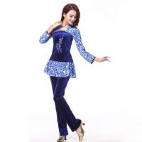 广场舞服装套装 新款秋冬女士中长袖上衣舞蹈服中老年运动跳舞演出服瑜伽服两件套 青花瓷小花裙裤子装款 XL