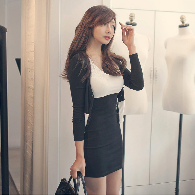 秋冬装新款夜店性感女装韩版修身背心披肩两件套包臀连衣裙子 黑色 发货周期:一般在付款后2-90天左右发货,具体发货时间请以与客服协商的时间为准