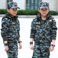 2018新款冬装儿童迷彩服套装加绒厚中大童男童休闲军装运动装巴拉