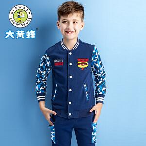 大黄蜂童装 男童普通外套2018年春季新款休闲拼色运动卫衣韩版