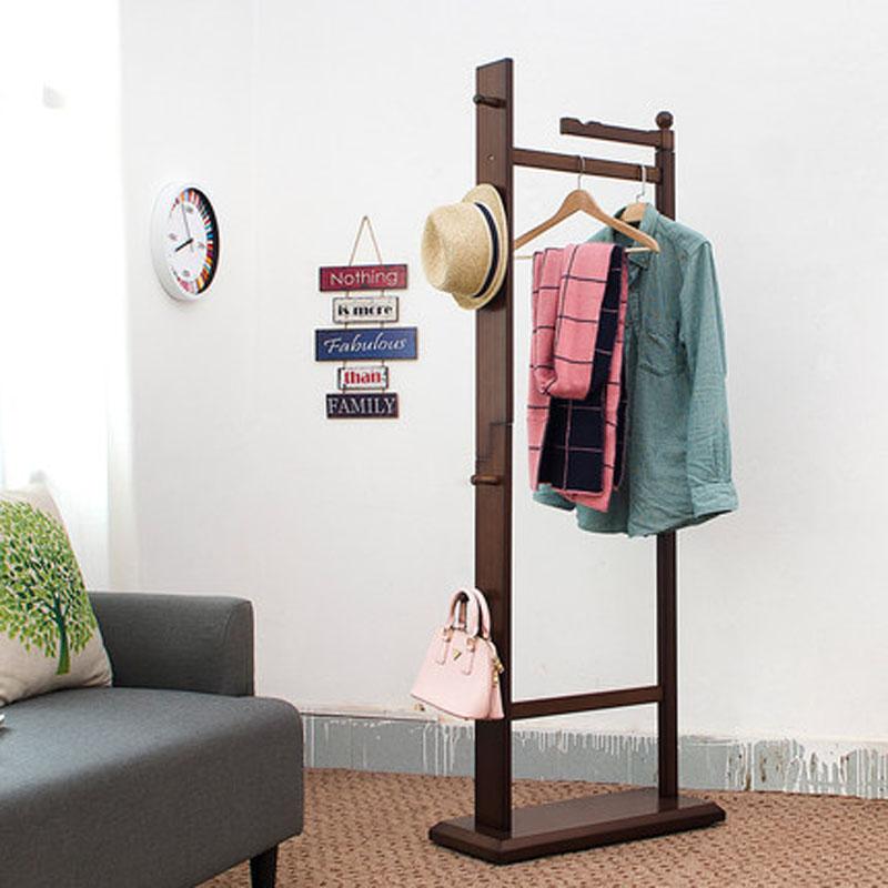 创意家居衣帽架现代卧室落地挂衣架衣服架子 复古色