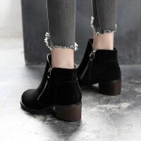 2018新款短靴女靴春秋单靴粗跟韩版磨砂女鞋平底百搭踝靴子女