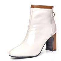 漆皮短靴女2018新款方头亮面高跟踝靴韩版百搭马丁靴及裸靴时装靴