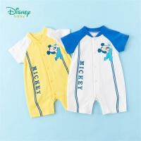 迪士尼Disney童装 婴幼儿连体衣前开扣撞色拼接爬服2020年夏季新品男宝宝哈衣纯棉舒适透气