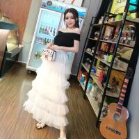 2018夏季新款韩版气质一字领露肩上衣+蕾丝拼接网纱半身裙套装女 均码
