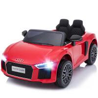 奥迪儿童电动车四轮摇摆双驱遥控电瓶车婴儿小孩玩具车可坐人汽车 红【奥迪R8]独立摇摆+双电双驱+2.4G遥控+U