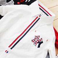 儿童白衬衫秋季新款童装男童条纹长袖衬衫贴布绣宝宝上衣