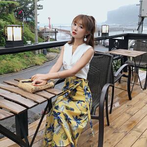 欧若珂 2018夏季新款高腰中长款清新菠萝印花一片式系带雪纺半身裙