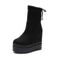 雪地靴女秋冬2018新款百搭中筒加绒厚底弹力靴增高坡跟瘦瘦马丁靴真皮