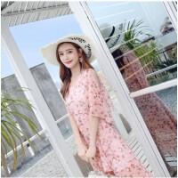 2018夏装新款女装波西米亚吊带长裙气质显瘦雪纺连衣裙度假沙滩裙 粉色