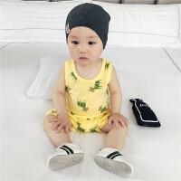婴儿套装新生儿衣服夏季满月背心纯棉无袖短裤两件套宝宝夏装