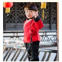 女童2018冬装新款加绒加厚唐装中国风复古民族风两件套套裙旗袍裙 红色 男童套装