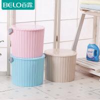 BELO/百露加厚塑料收纳桶带盖储物桶钓鱼洗车可坐洗澡凳多用水桶