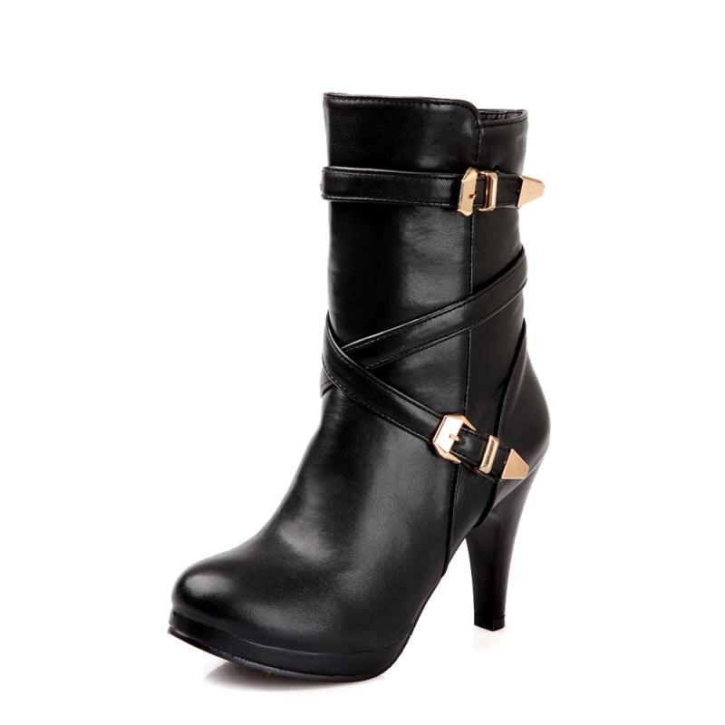2018新款女士高跟鞋中靴马丁靴女靴子短靴冬秋冬季短筒靴细跟女鞋真皮