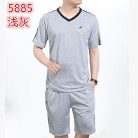 中年男士运动套装男夏爸爸大码健身服 中老年男装短袖T��短裤休闲