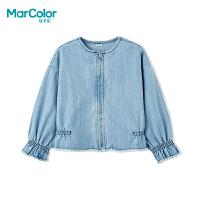 巴拉巴拉旗下MarColor马卡乐2019春新品女童喇叭袖磨毛牛仔外套