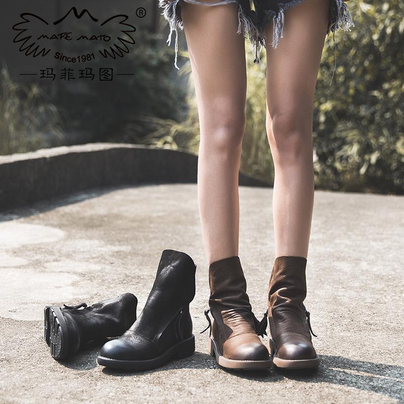 玛菲玛图磨砂鞋女靴春秋单靴2017新款短靴女粗跟真皮侧拉链魔术贴马丁靴女5751-26尾品汇 付款后3-5个工作日发货