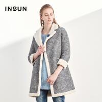 INSUN/恩裳时尚保暖加厚羊毛皮一体中长款皮草大衣外套2017冬新款