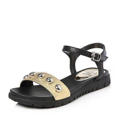 Tata/他她夏专柜同款牛皮撞色一字带坡跟休闲女凉鞋FA802BL7