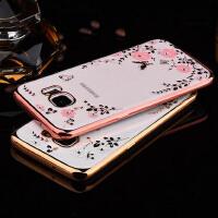 【正品包邮】三星S7 edge手机外壳s7硅胶壳s7曲屏手机壳S7直屏软套奢华G935a手机套镶钻透明软壳G9350保