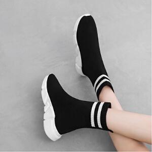 公猴人气爆款短靴女2018冬季新款时尚舒适网红瘦瘦靴中筒弹力运动厚底ins百搭袜靴