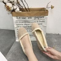 毛毛鞋女秋冬季2018新款韩版百搭加绒豆豆鞋平底晚晚温柔网红单鞋