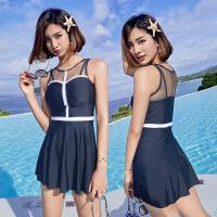 游泳衣少女士连体保守遮肚显瘦性感学生韩国泡温泉裙式平角裤泳装