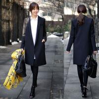2018春秋新款韩版时尚修身中长款显瘦小西服女士休闲小西装女外套 黑色